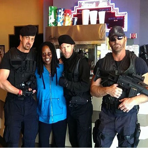 Bettina with The Expendables Impersonators